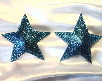 Blue Glittery Star Shaped Nipple Pasties