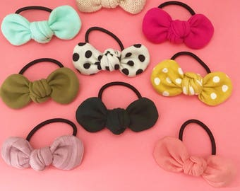 Bow Hair Elastics. Bow Hair Tie. Hair Elastics. Hair Ties. Pony Tail Bows. Pony Tail Hair Accessories. Stocking Stuffer. Gift for Girls.