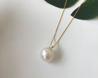 11-12mm Fresh Water Pearl Necklace Fresh Water Pearl Charm White Pearl Charm White Pearl Pendant White Pearl Necklace