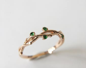 0.03 Carat Tsavorite Band Tsavorite Ring Rose Gold Band Rose Gold Ring Tree Branch Ring Tree Branch Band