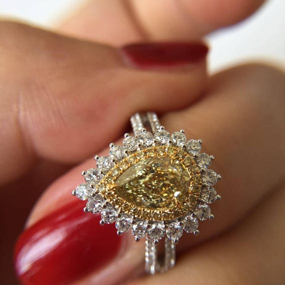 1 Carat Yellow Diamond Engagement Ring Yellow Diamond Ring