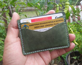 Handmade Leather Card Wallet, Card Holder, Business Card - Green