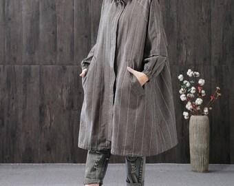 Loose linen jacket trench coat autumn jacket linen tunic dress linen coat jacket long dress coat oversize outerwear plus size clothing