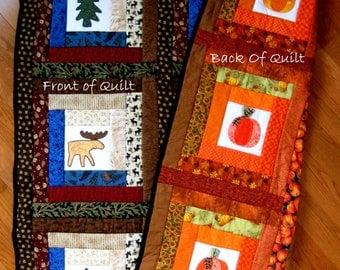 Western/Pumpkin Quilt, Moose Bear Tree Appliqued Handmade Quilt, Fall Harvest Decor Quilt, Unique Wall Art Quilt, Western Decor Quilt,