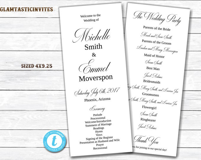 Tea Length Wedding Program, Wedding Program Template, INSTANT DOWNLOAD, You Edit, Ceremony Program Template, Wedding Program, Template, DIY