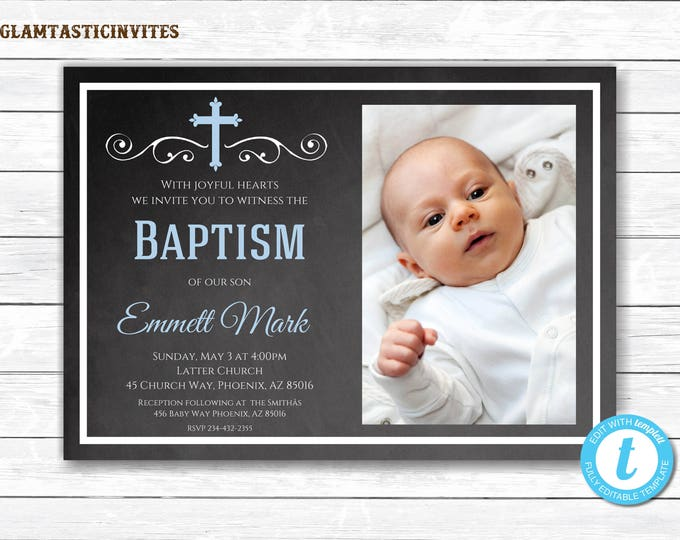 Baptism Invitation Boy, Baptism Invitation Printable, Boy Baptism Invitation, Printable Baptism Invitation, Baptism Template, You Edit, Blue
