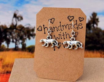 Leopard Earrings, Silver Bit Cat Jewelry, King of the Jungle, Africa Asia Wildlife Safari Jewelry, Animal Lover Earrings - Jaguar