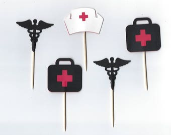 12 Medical cupcake toppers, Medical Party Picks - Cupcake Topper - Toothpicks