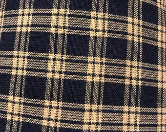 Dark Navy Blue Checked Gingham Grid Plaid Fabric Remnant 1 Yard