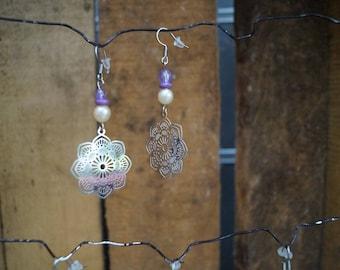 Purple mandala earrings