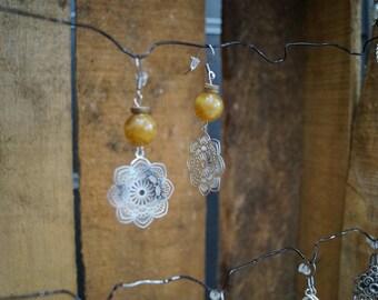 Brown mandala earrings