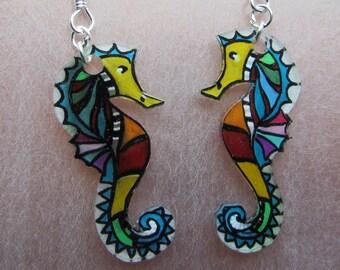 seahorse earrings colorful
