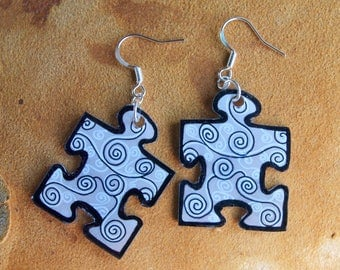 black and white puzzle earrings
