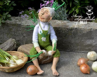 Chives- handmade doll- textile doll- fabric doll- rag doll- home decoration- handmade toy