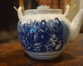 Vintage Fukujin Teapot/ Beautiful Blue and White Japanese Teapot with 7 Lucky Gods/ Bamboo Handle/ Gods