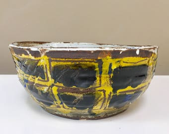 Large Yellow Scribble Bowl