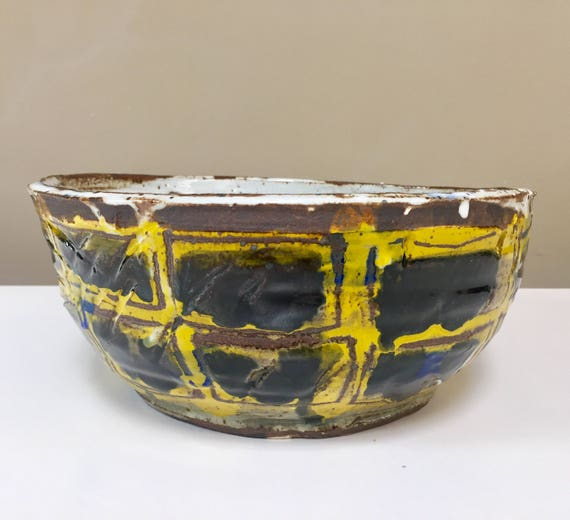 Large Yellow Scribble Bowl