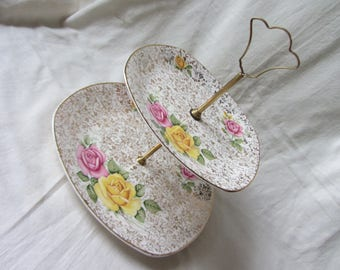 Two tier vintage Midwinter Stylecraft 60's cake stand. Gold chintz yellow and pink roses. Tea party, wedding, afternoon tea, jewellery stand
