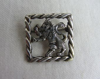 Antique Scottish handmade Lion Rampant  brooch. Vintage Royal Banner Arms of Scotland symbol. Sterling silver pin, 1900-1920