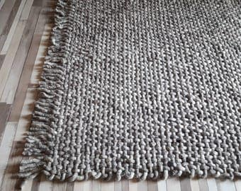 Wool Rug Woven Gray Area Rugs 8x10 Handwoven Rugs Scandinavian Living Room  Handmade Natural