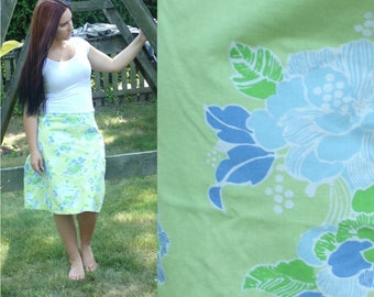 90s Eddie Bauer Floral Skirt, Green & Blue Skirt, Flowered Cotton Skirt Below the Knee Skirt, Summer Skirt, Size 14 , Vintage 1990s Skirt