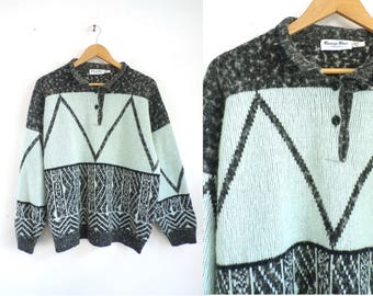 70s Chevron Nordic Sweater Sky Blue Gray Collared Sweater Knit Acrylic & Wool Sweater Soft Pullover Sweater Womens Jumper Large