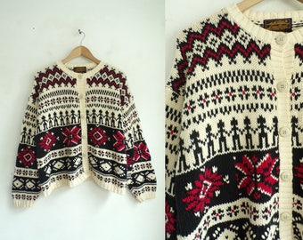 80s Tribal Cardigan Sweater Chunky Knit Sweater Cotton Nordic Sweater Ethnic Print Button Down Cardigan Eddie Bauer Womens Jumper Large