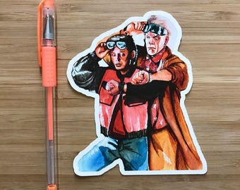 Back to the Future Vinyl Sticker, Marty McFly, Doc Brown, 80s Sci Fi Movies, Pop Culture Decals, Comic Books, Back to the Future Gift
