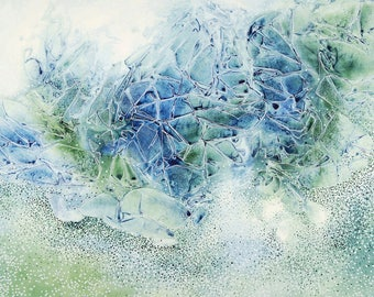 Original Watercolor - Crystalline flow structures (blue-green)