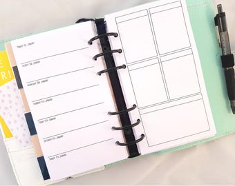 Printed Personal Size Planner Inserts  |  WO1P on left with EC boxes on right | Week on 1 Page  | for medium kikki k or filofax refill