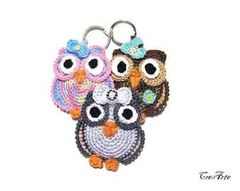 Crochet owl keychains, portachiavi gufetti all'uncinetto