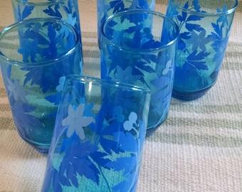 Lot of Pretty Blue Juice Glasses