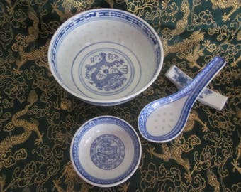 Chinese Dragon Rices Grain Bowl,Sauce Dish, Spoon and Unique Spoon Rest