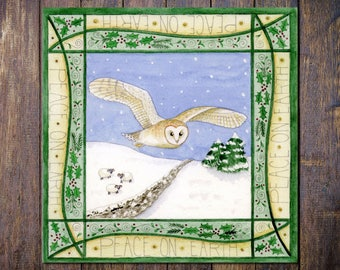 Barn Owl Christmas Card,  Peace on Earth Winter Solstice Pagan Yuletide Square Blank Greetings Card
