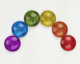 """Rainbow Glitter Magnets // Set of  6 - 1"""" Round Glass Magnets // Pride Magnets"""