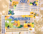 September SUNFLOWERS monthly view spread -for Happy Planner classic & Erin Condren Vertical Horizontal Planners sticker- medium fall autumn