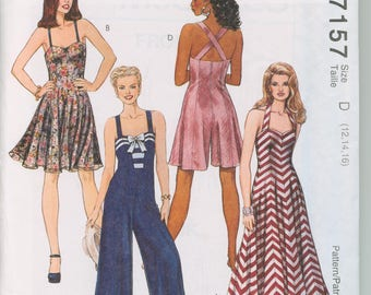 McCall's Pattern 7157 Misses Dress in Two Lengths, Jumpsuit, and Rompers