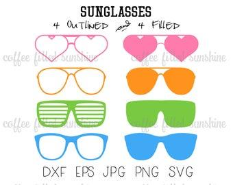 SUNGLASSES SVG, Digital Cut File, Beach Sunglasses, Heart Aviator Shutter Wayfarer, Clipart, Instant Download, dxf eps jpg png svg