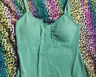 90s built in bra camisole tank top light lime green size medium
