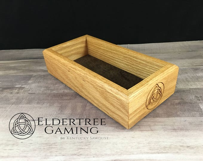 Premium Dice Tray - Personal Sized - Red Oak with Felt or Leather Rolling Surface - Eldertree Gaming