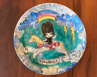 Revenge! Decorative Plate, Handpainted Plate, unicorn