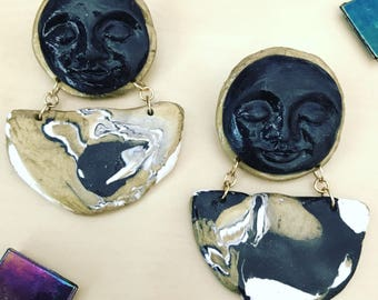 clay face earrings // handmade