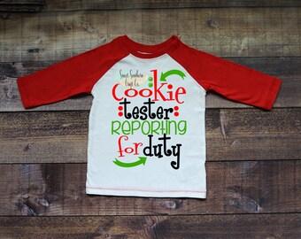 Cookie Tester Reporting For Duty Kids Christmas Raglan,Christmas Shirt,Matching Shirts,Santa Shirts,Holiday Shirt,Cookie Party