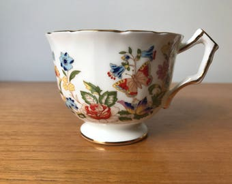 """Aynsley """"Cottage Garden"""" Butterfly Tea Cup and Saucer, Orphaned Teacup with Flowers and Butterflies, Teacup ONLY, Replacement Bone China"""