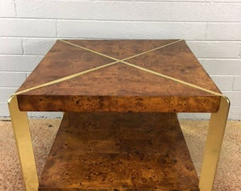 Milo Baughman Burlwood Side Table or Coffee Table