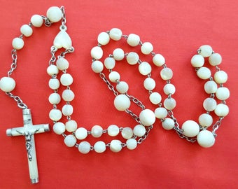 Old rosary cross Pearl Rosary mother of Pearl 53 cm - 20781