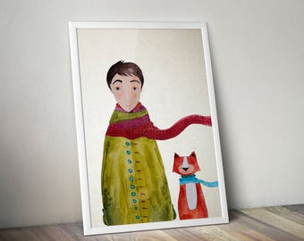 Green robe boy and cute orange cat watercolor illustration art print childrens room, nursery wall decor home hanging art decor
