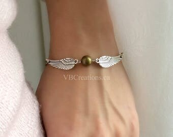 Wings and Gold Ball Bracelet - Wings Jewelry - Wings Necklace - Silver Chain - Christmas Gift - Gift for her - Sister Gift - Quidditch - BFF