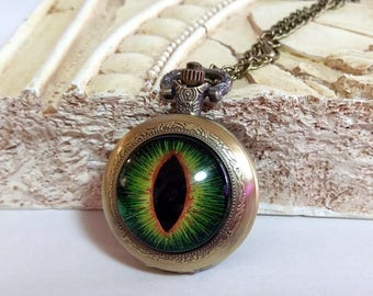 Hand-Painted Hazel (Green & Copper) Dragon Eye on Antique Bronze Pocket Watch with Chain Necklace