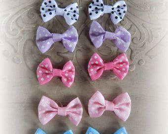 12 multicolored bow 3.5 x 2.4 cm black, white, pink, purple and blue